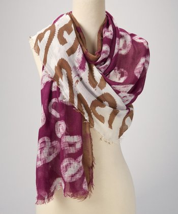 Purple & Tan Abstract Scarf