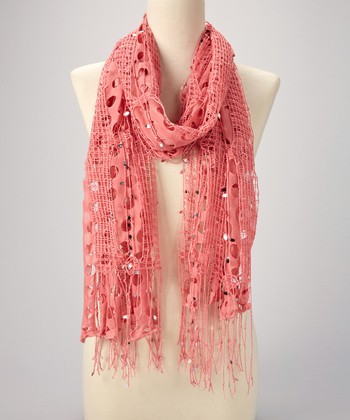 Peachy Pink Sequin Scarf