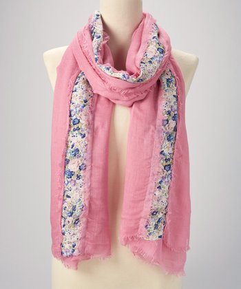 Blush Floral Stripe Scarf