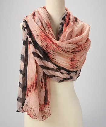 Peach Pink & Black Stripe Scarf