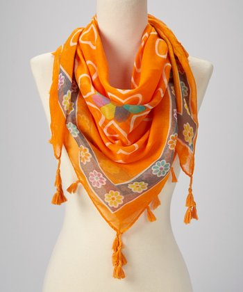 Orange Floral Tassel Scarf