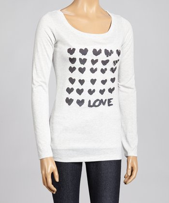 Black & White Hearts Top - Women