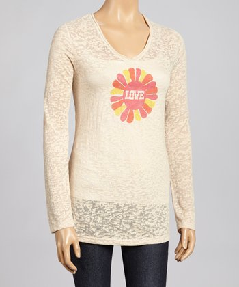 Nude & Orange Flower Power Burnout Top - Women & Plus