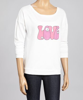 White 1970's 'Love' Dolman Top - Women