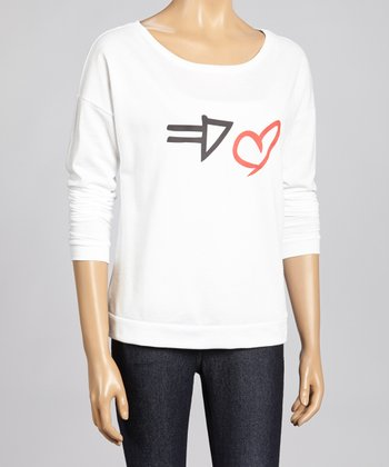 White Arrow Heart Dolman Top - Women