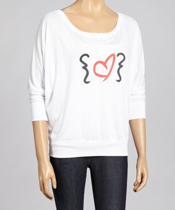 White Bracket Heart Dolman Top - Women
