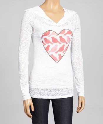 White & Blush Birdie Heart Burnout Hoodie - Women & Plus