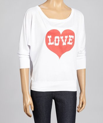 White & Red 'Love' Heart Dolman Top - Women