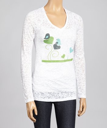 White & Green Bird Burnout Top - Women & Plus
