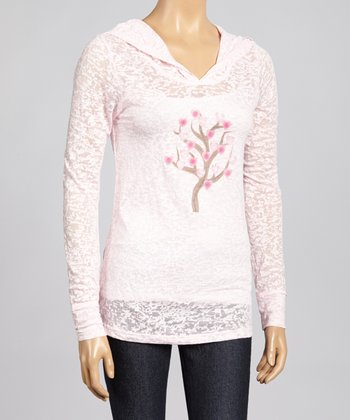 Pink Love Tree Burnout Hoodie - Women & Plus