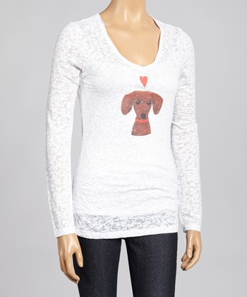White Puppy Love Burnout Top - Women & Plus