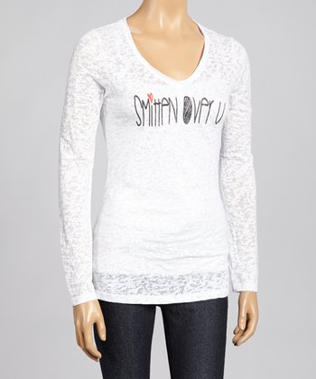 White 'Smitten' Burnout Top - Women & Plus