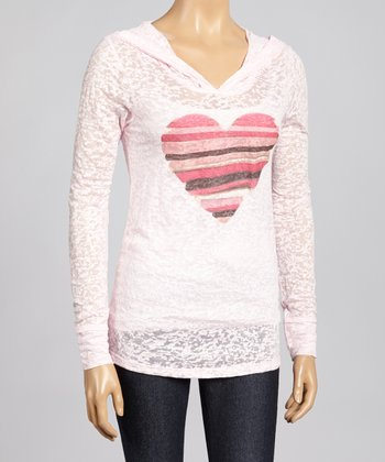 Pink Stripe Heart Burnout Hoodie - Women & Plus