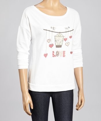 White 'Love' Graphic Dolman Top - Women