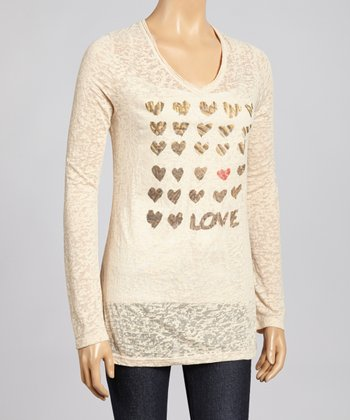 Nude & Gold Hearts Burnout Top - Women & Plus