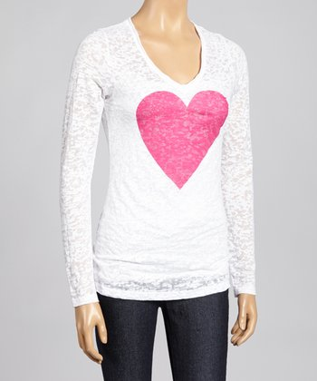 White & Pink Heart Burnout Top - Women & Plus