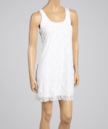 White Lace Racerback Dress - Women