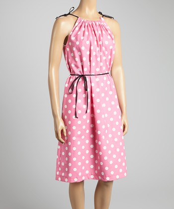 Pink & White Polka Dot Shift Dress