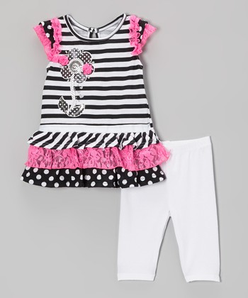 Black Ruffle Top & White Leggings - Infant, Toddler & Girls