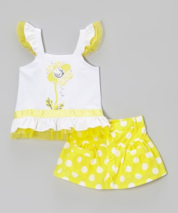 Yellow Angel-Sleeve Top & Polka Dot Skirt - Toddler & Girls