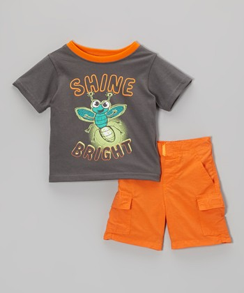 Gray Firefly Tee & Orange Shorts - Infant