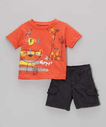 Red Orange Animal Tee & Black Shorts - Infant