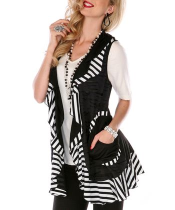 Black & White Stripe Trim Vest