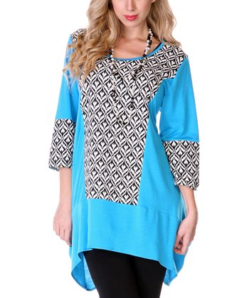 Turquoise & Black Abstract Sidetail Top