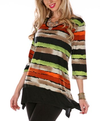 Orange & Green Stripe Scoop Neck Top