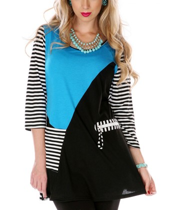 Turquoise & White Stripe Color Block Tunic