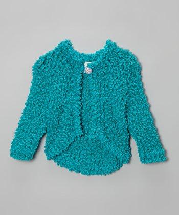 Turquoise Soho Flowers Cardigan - Toddler & Girls