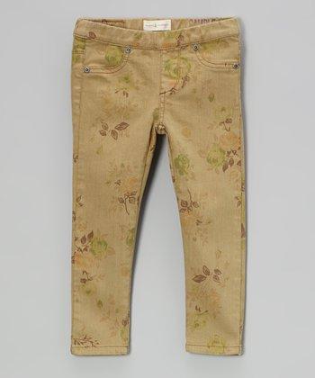 Olive Tapestry Rose Skinny Jeans - Toddler & Girls