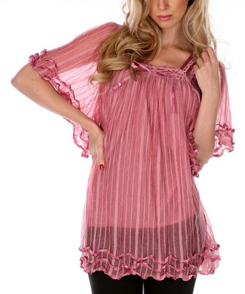 Pink Ruffles & Ribbon Sheer Tunic