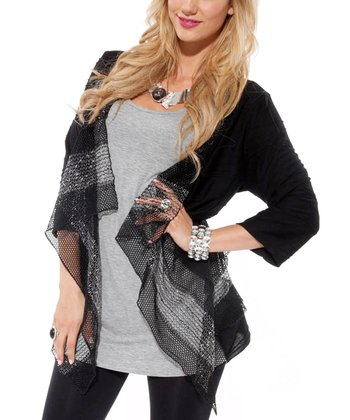 Black Embellished Open Cardigan
