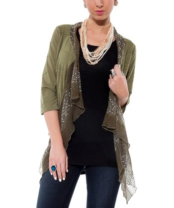 Olive Embellished Open Cardigan