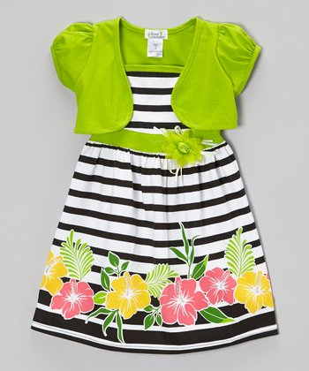 Lime & Black Stripe Hibiscus Dress & Shrug - Infant, Toddler & Girls
