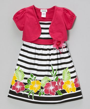 Fuchsia & Black Hibiscus Dress & Shrug - Infant, Toddler & Girls