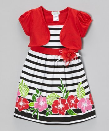 Red & Black Hibiscus Dress & Shrug - Infant, Toddler & Girls