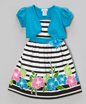 Turquoise Hibiscus Dress & Shrug - Infant, Toddler & Girls