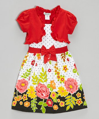 Red Floral Polka Dot Dress & Shrug - Infant, Toddler & Girls