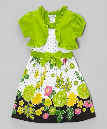 Lime Floral Polka Dot Dress & Shrug - Infant, Toddler & Girls