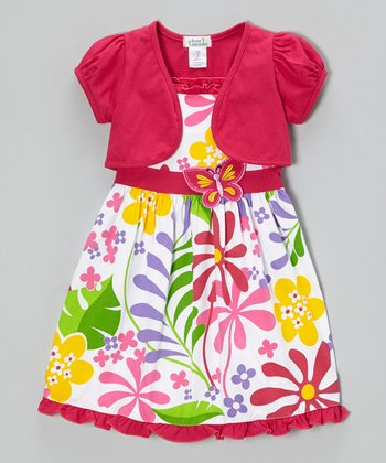Fuchsia Butterfly Floral Dress & Shrug - Infant, Toddler & Girls