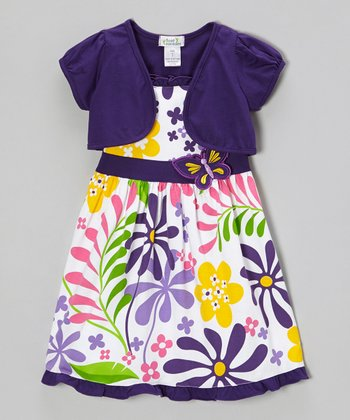 Purple Butterfly Floral Dress & Shrug - Infant, Toddler & Girls