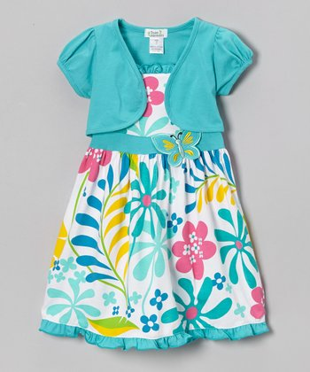 Teal Butterfly Floral Dress & Shrug - Infant, Toddler & Girls