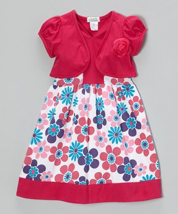 Fuchsia Daisy Dress & Shrug - Toddler & Girls