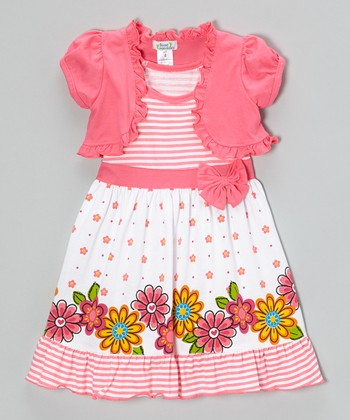 Pink Floral Stripe Ruffle Dress & Shrug - Infant, Toddler & Girls