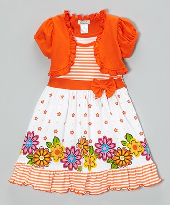 Orange Floral Ruffle Dress & Shrug - Infant, Toddler & Girls