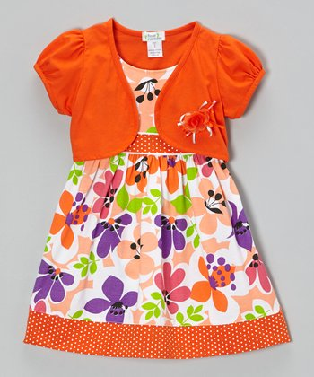 Orange Floral Dot Trim Dress & Shrug - Infant, Toddler & Girls