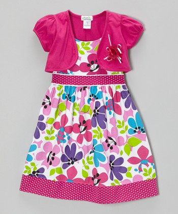 Raspberry Floral Dot Trim Dress & Shrug - Infant, Toddler & Girls