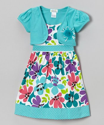 Teal Floral Dot Trim Dress & Shrug - Infant, Toddler & Girls